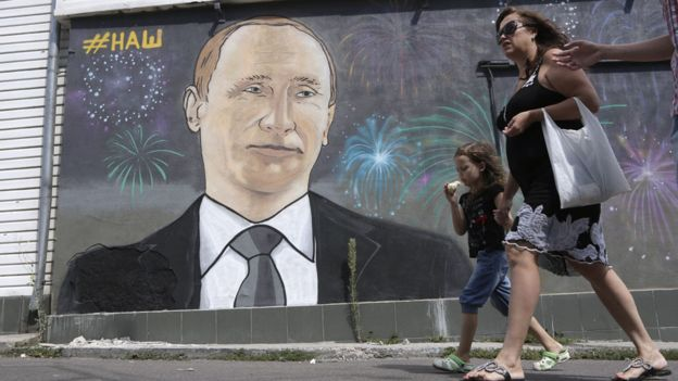 A pro-Russian street mural in Simferopol, Crimea, which was annexed by Russia in 2014. Getty Images