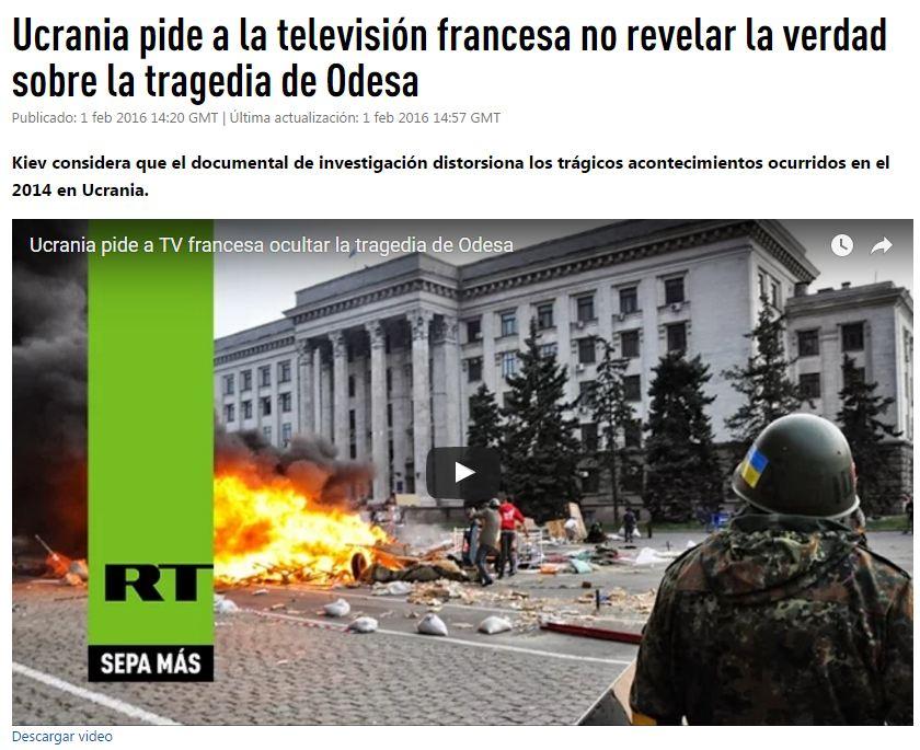 Captura de pantalla de Russia Today