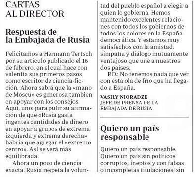 La carta de la embajada rusa contra Hermann Tertsch