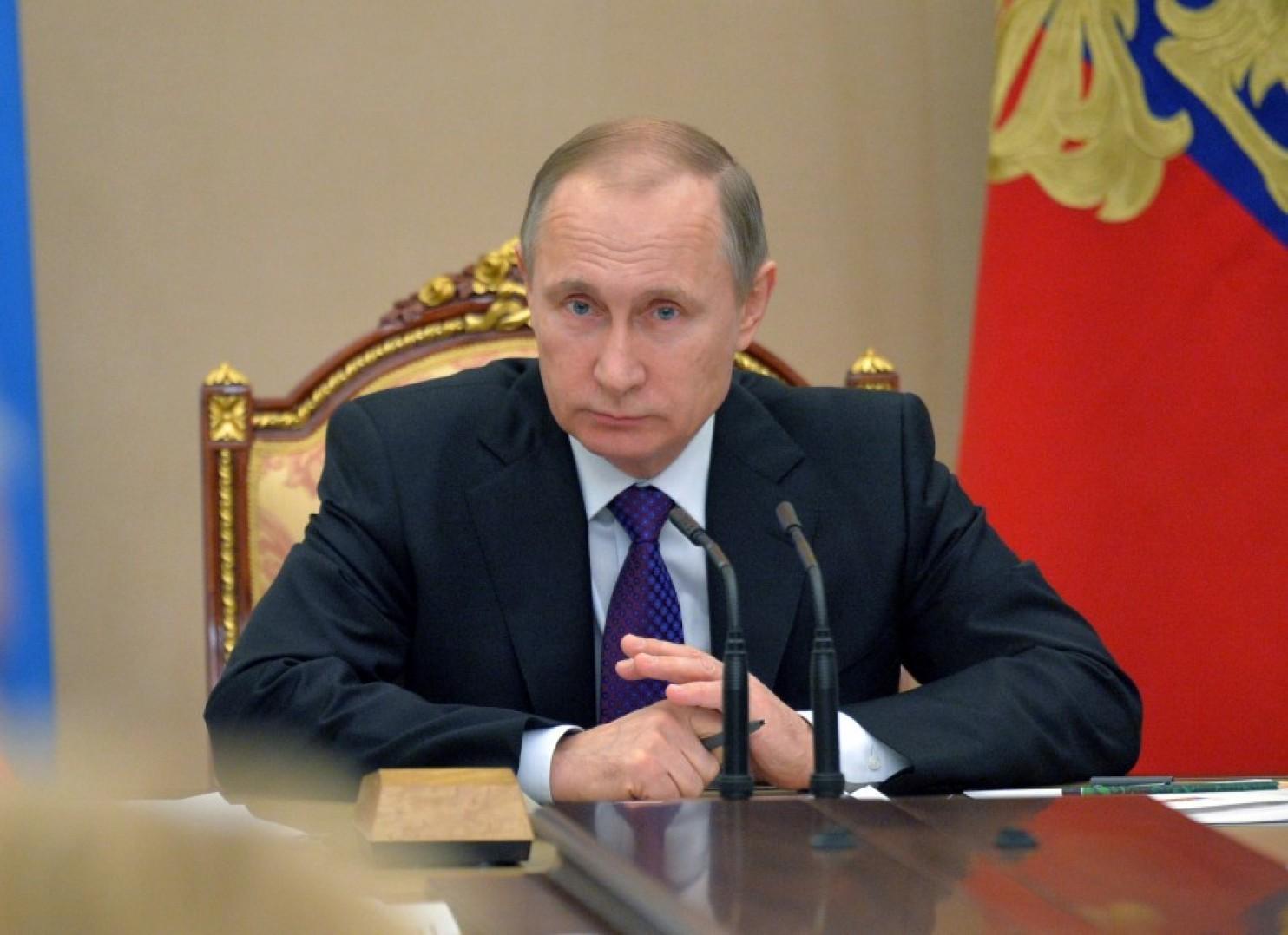 Russian President Vladimir Putin meets with the Cabinet in Moscow last month. (Alexei Druzhinin/Sputnik, Kremlin Pool Photo via Associated Press)