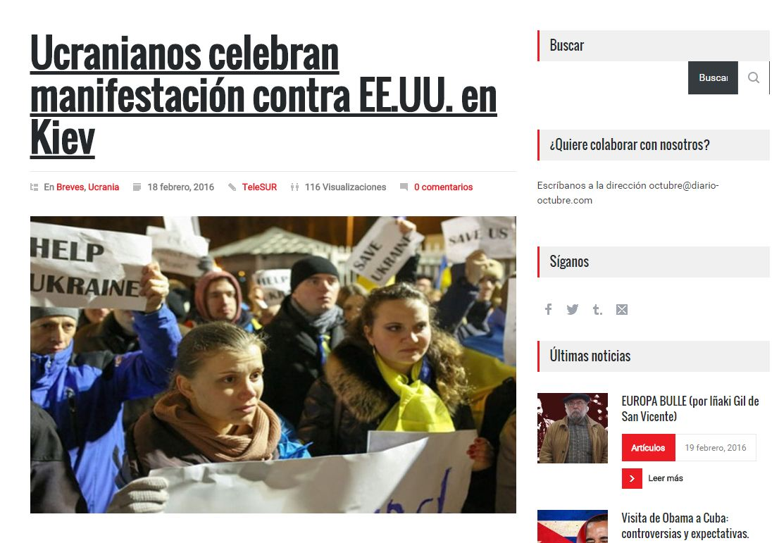 Captura de pantalla del Diario Octubre