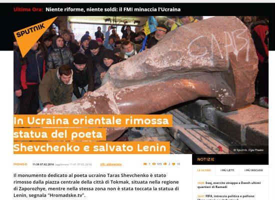 Fake : Statua del poeta Shevchenko rimossa nella regione di Zaporizhzhia