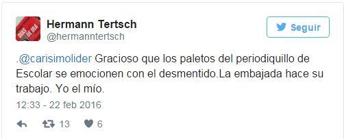 La respuesta de Hermann Tertsh en Twitter