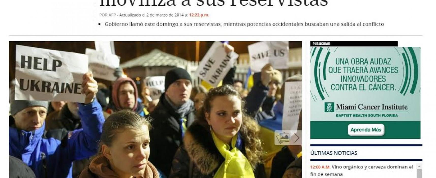 TeleSUR ilustró su nota sobre una manifestación contra EE.UU con una imagen de los ucranianos pidiendo ayuda internacional