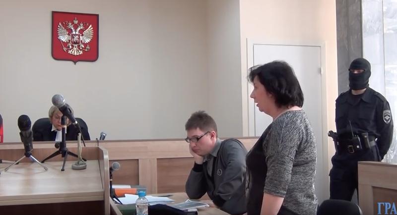 Yekaterina Vologzheninova, speaking in court on the day of her verdict, February 20, 2016. Screencap courtesy of Grani.ru