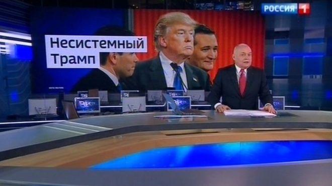 "Russian TV host Dmitri Kiselyov praises ""anti-establishment"" Trump"