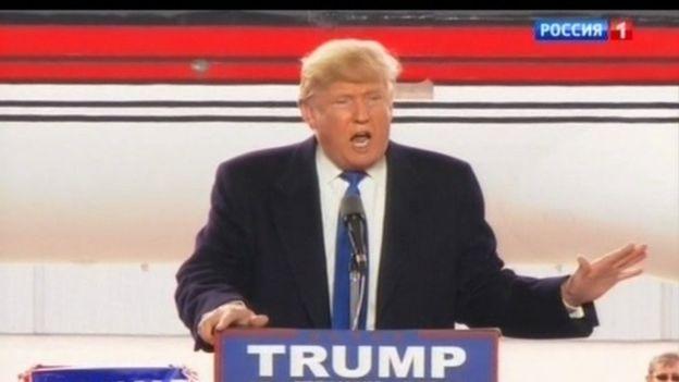 Trump on campaign trail in Ohio. Rossia 1