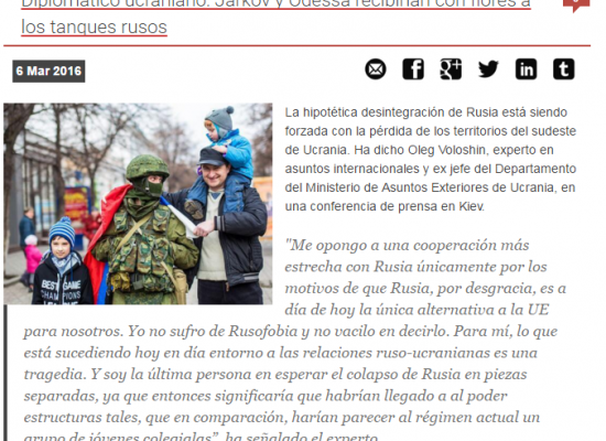 "Fake: Ukrainian Diplomat: ""Kharkiv and Odessa Will Meet Russian Tanks with Flowers"""