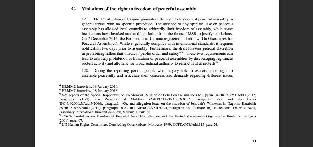 El informe del Alto Comisionado de la ONU de los Derechos Humanos