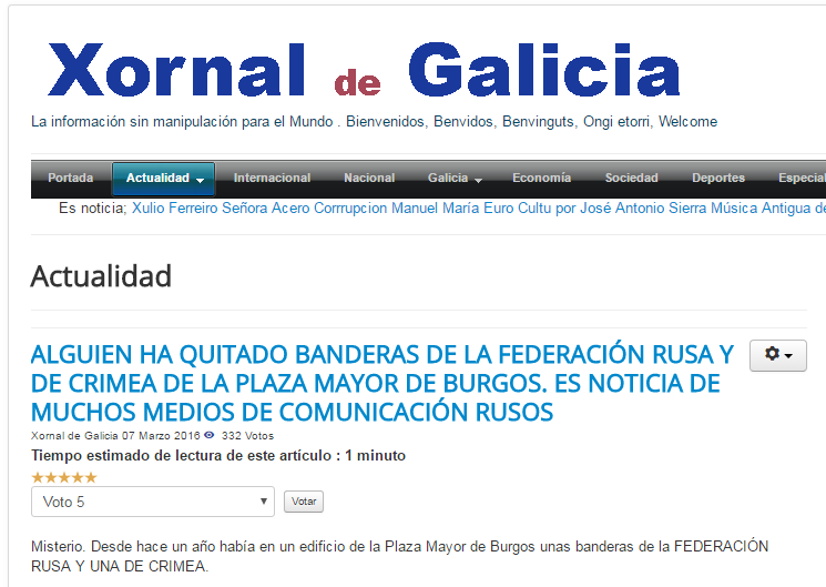 """Скриншот на сайта на """"Xornal de Galicia"""""""