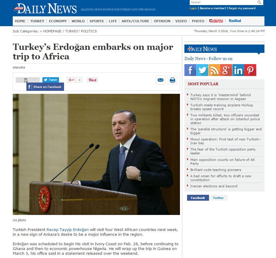 Website screenshot hurriyetdailynews