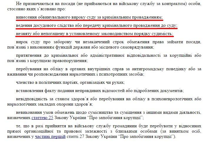 Скриншот текста Указа министра обороны Украины