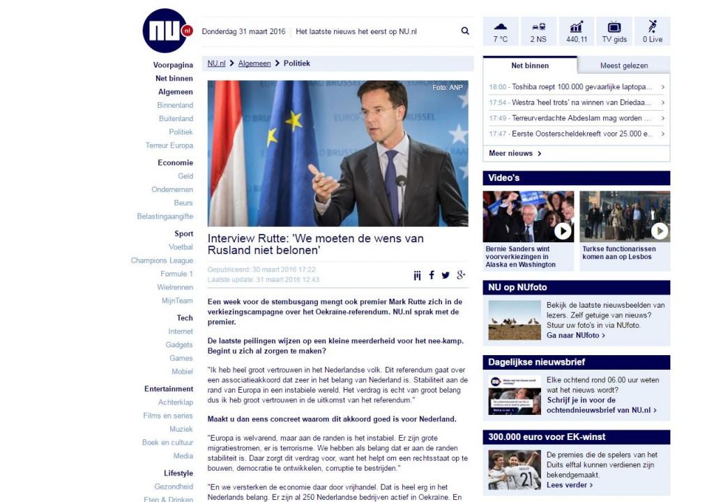 Website screenshot NU.nl