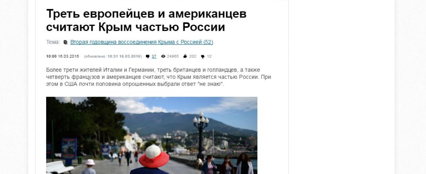 Presa rusă a difuzat rezultatele unui sondaj dubios cu privire la Crimeea