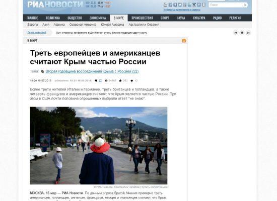 Des médias russes ont diffusé un sondage controversé sur la vision des européens de la Crimée