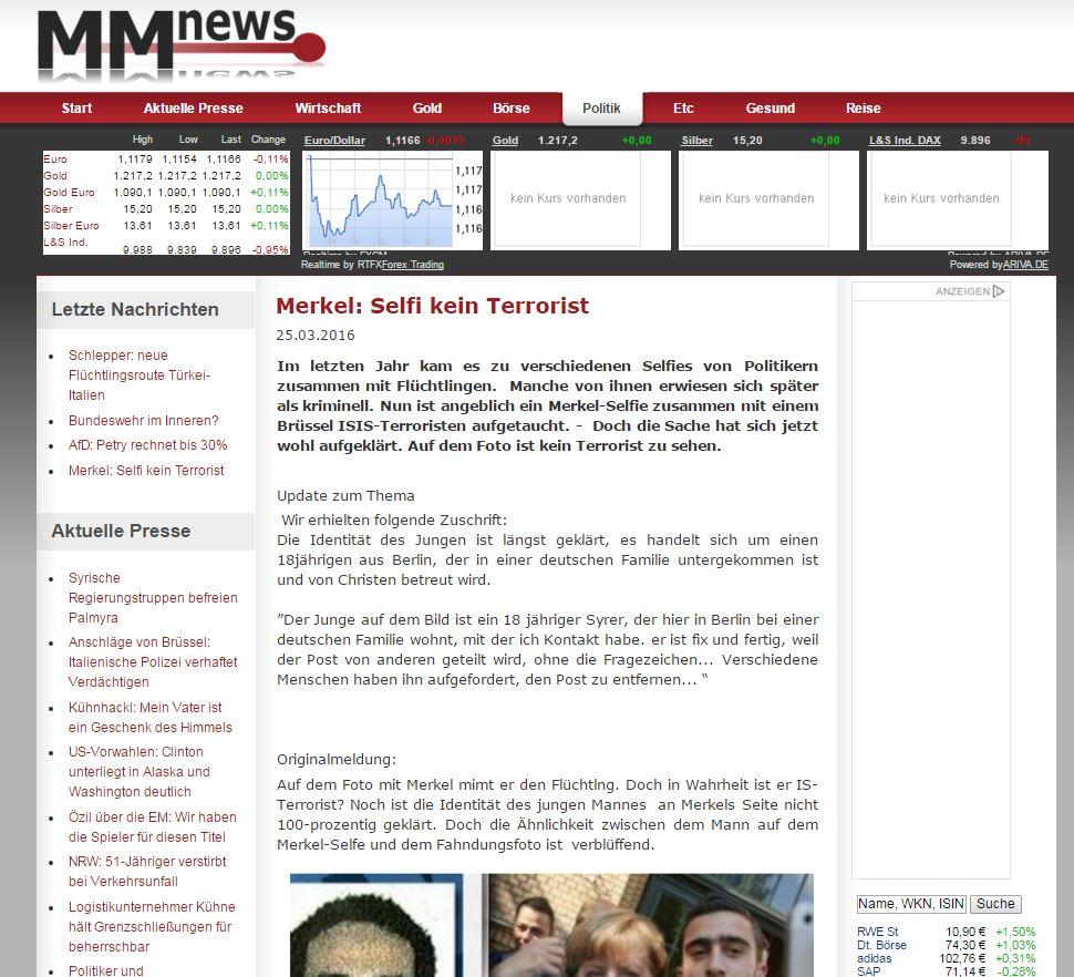 Скриншот на сайта Mmnews.de
