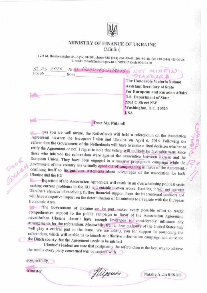 Замечания Натальи Яресько к документу (розовым цветом)