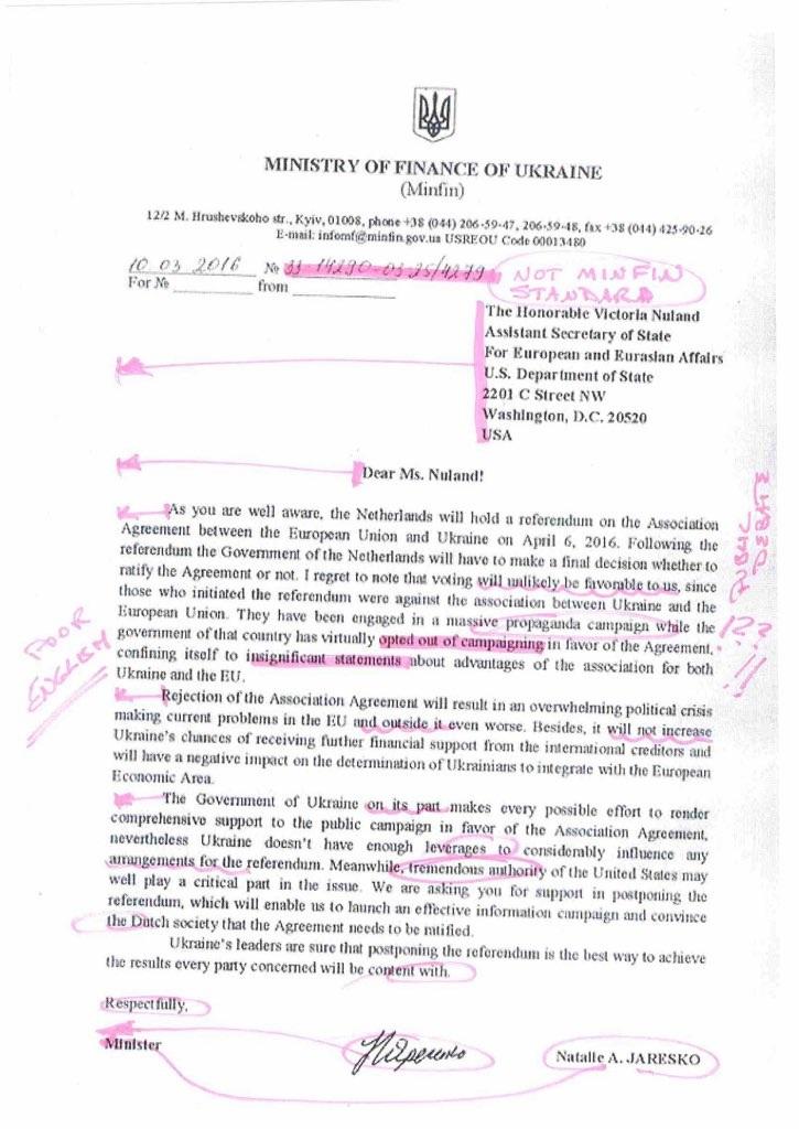 La carta falsa corregida por la ministra N.Jaresko