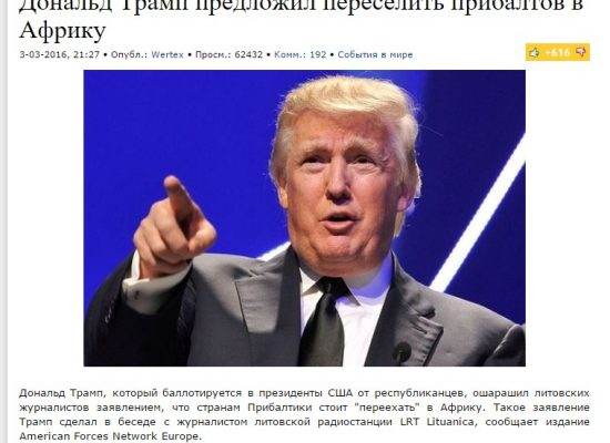 Fake: Trump Proposes Resettling Balts to Africa