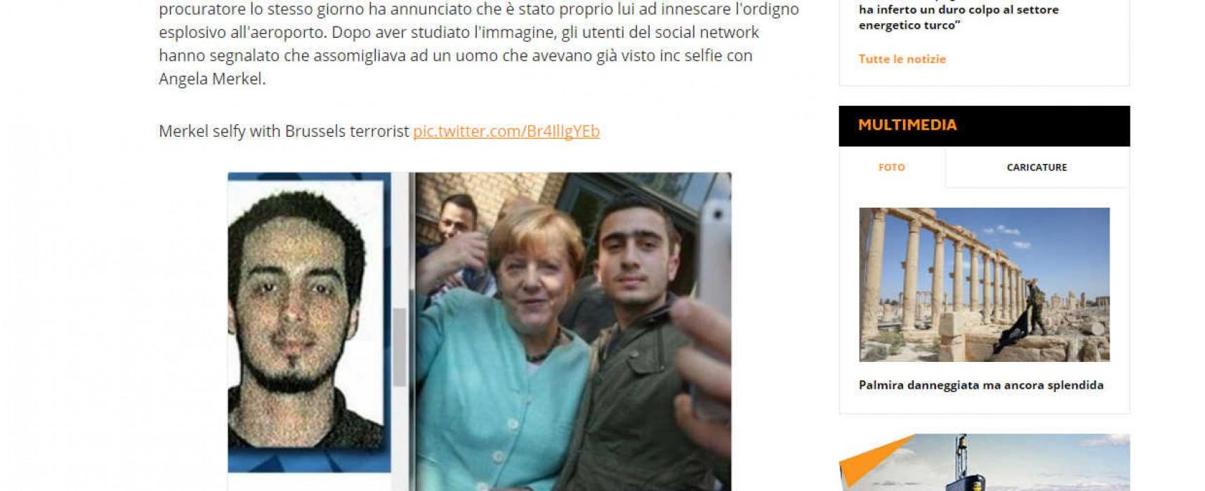 Fake: Merkel si è fatta un selfie con il kamikaze belga