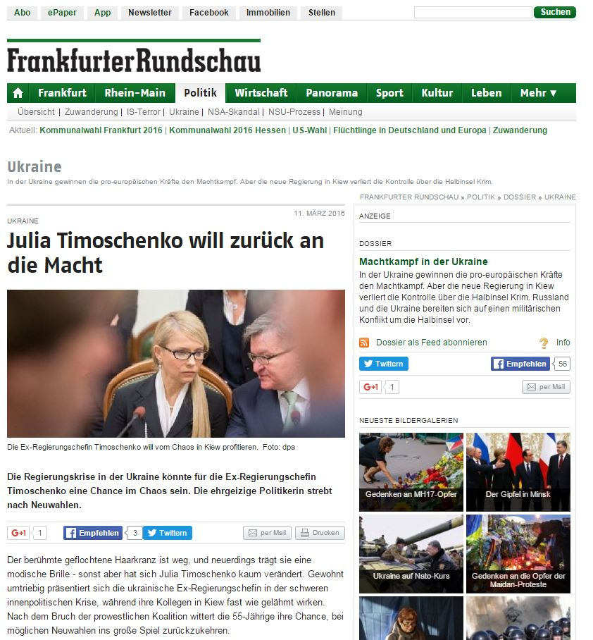 Website screenshot Frankfurter Rundschau
