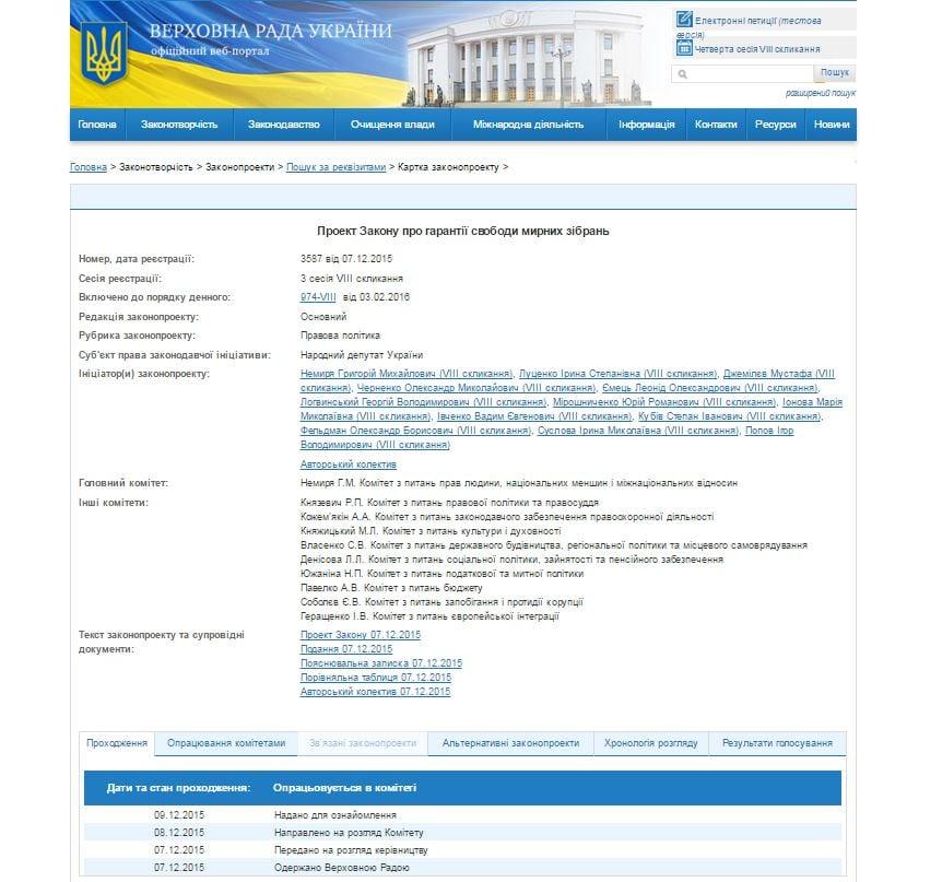 La página del Rada Suprema de Ucrania