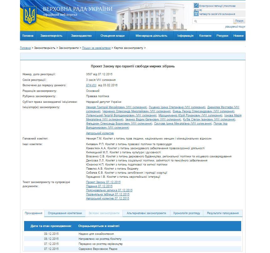 The Verkhovna Rada of Ukraine Website Screenshot