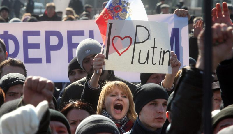 A pro-Russian demonstrator shouts slogans during a rally in the eastern Ukrainian city of Donetsk on 8 March 2014. Photo: Getty Images