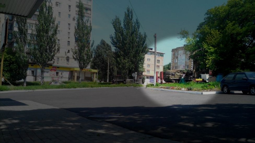 One photo posted on social media shows the missile launcher by a petrol station in rebel-held territory