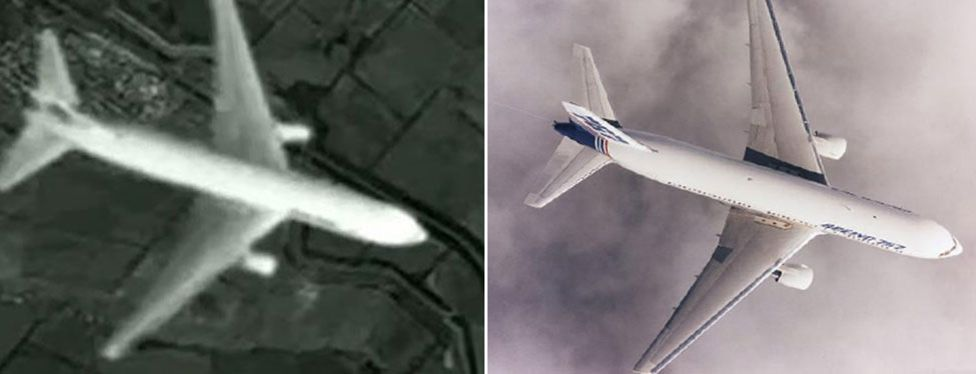 Channel One. Some bloggers have also pointed out that the plane in the Russian satellite photo is a different model from MH17 (a Boeing 777-200) and looks much more like a Boeing 767 (pictured right) suggesting the photograph was doctored