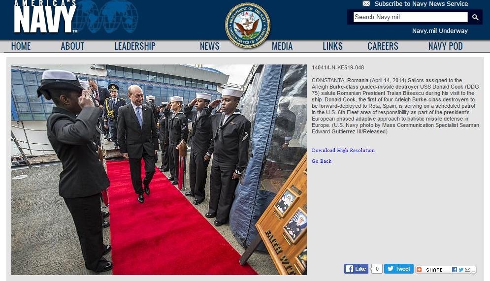 Румынский президент на борту американского эсминца 14 апреля 2014 года
