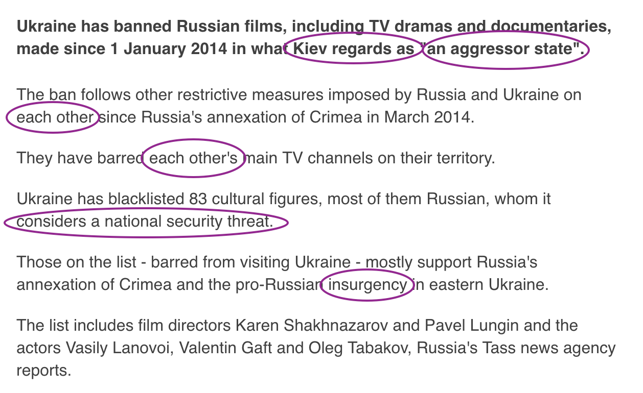 Language of Russian propaganda in the BBC
