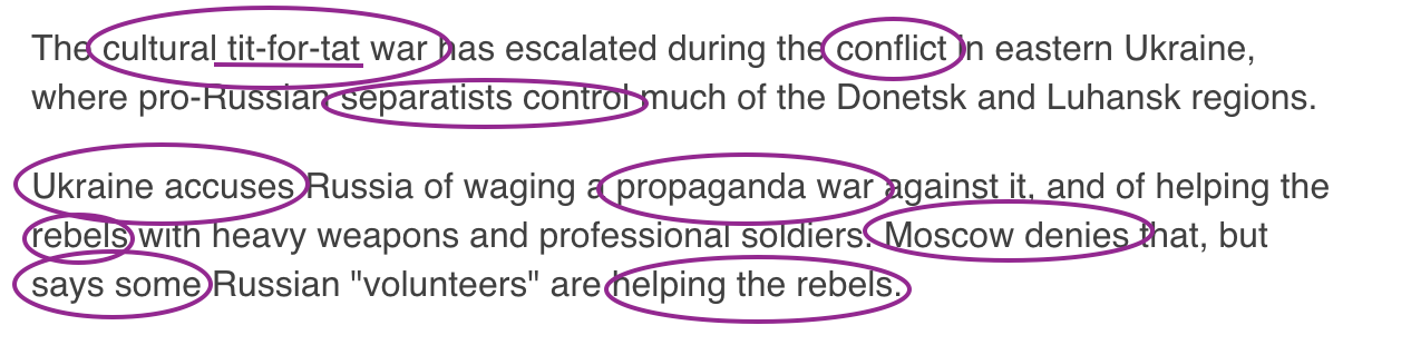 Language of Russian propaganda in the BBC     Language of Russian propaganda in the BBC