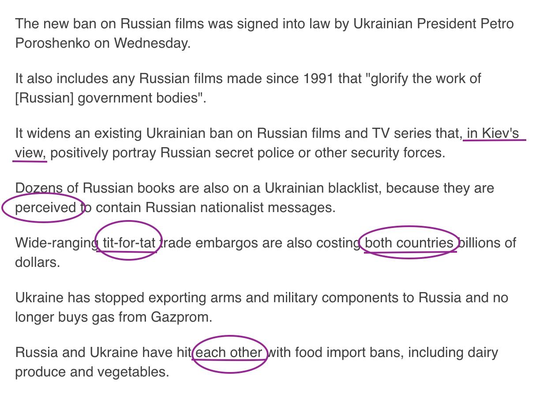Language of Russian propaganda appearing in BBC