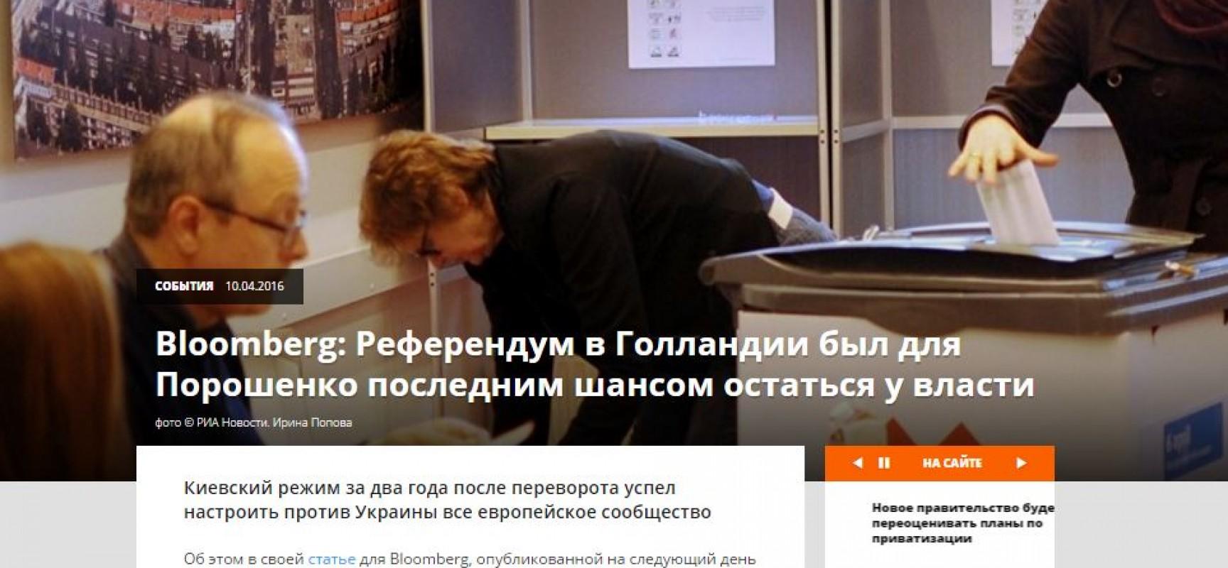 """Fake: Il referendum nei Paesi Bassi """"è stata per Poroshenko l'ultima possibilità di rimanere al potere"""""""