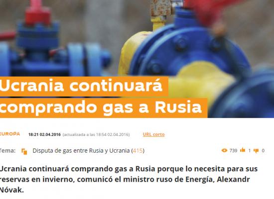 Falso: Ucrania continuará comprando gas a Rusia