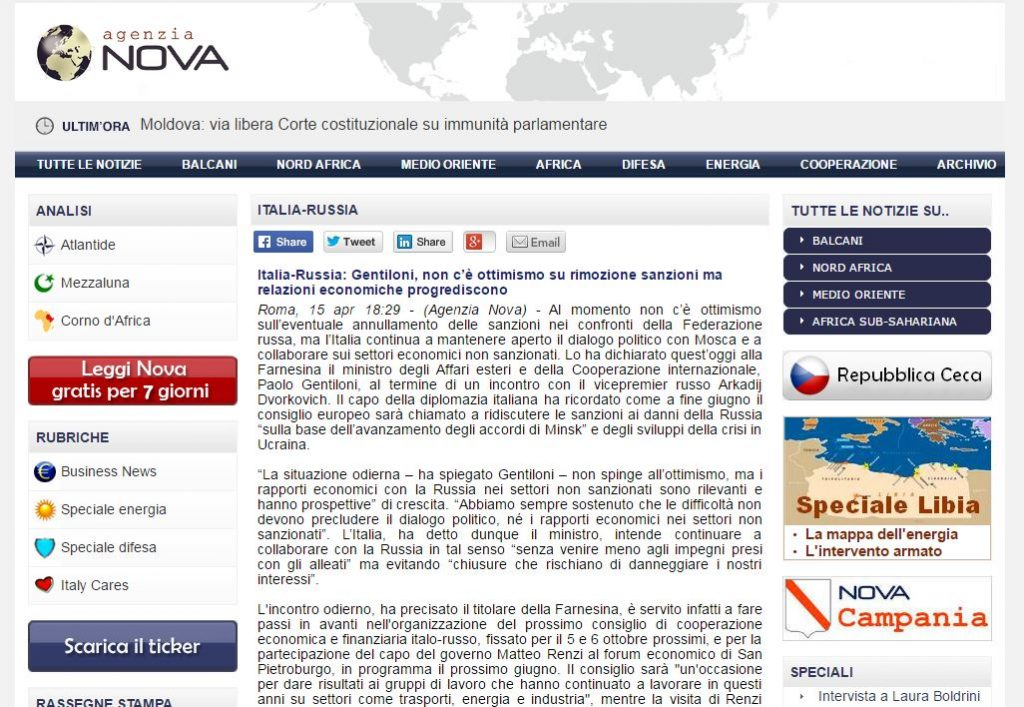 Screenshot website Nova