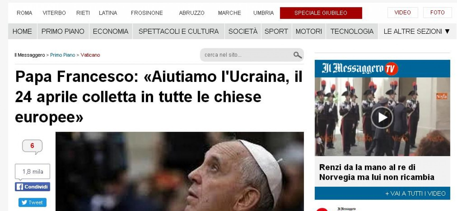 "Fake : Papa Francesco e la ""guerra civile in Ucraina"""