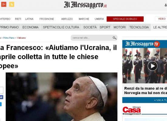 "Fake : Papa Francesco e la ""guerra civile in Ucraina"""