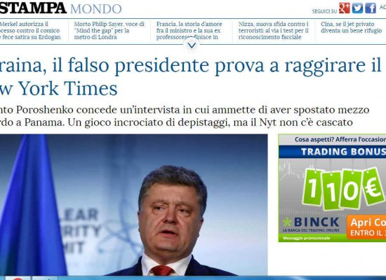 Fake : Falso Presidente ucraino intervistato dal NYT