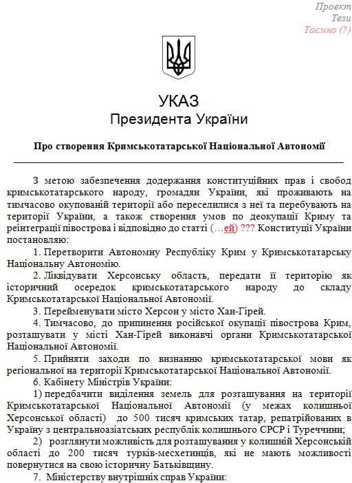 Якобы проект указа президента Украины / cyber-berkut.org