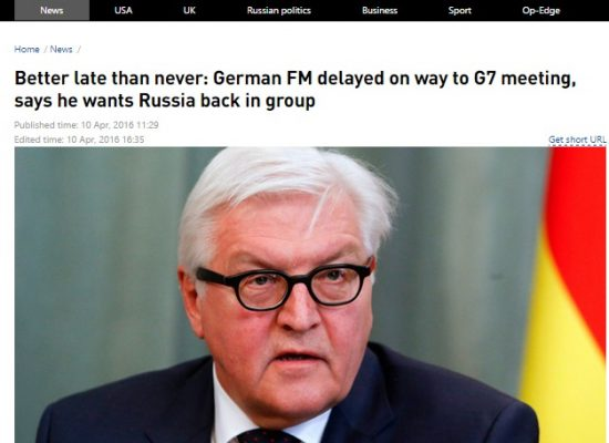 RT Distorts German Foreign Minister's Statement
