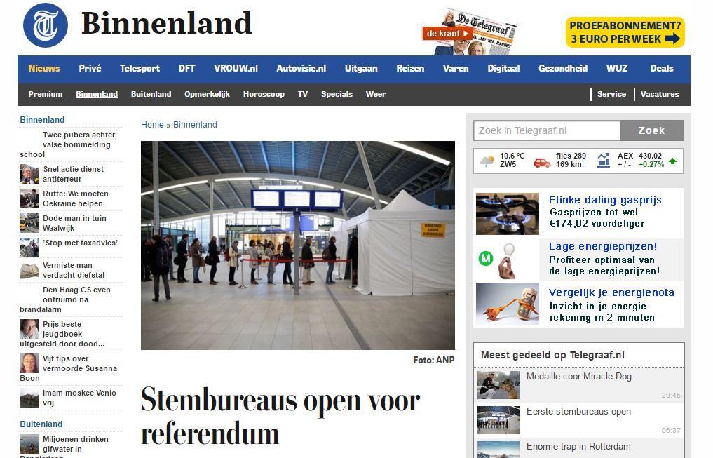 Скриншот на сайта на Telegraaf.nl