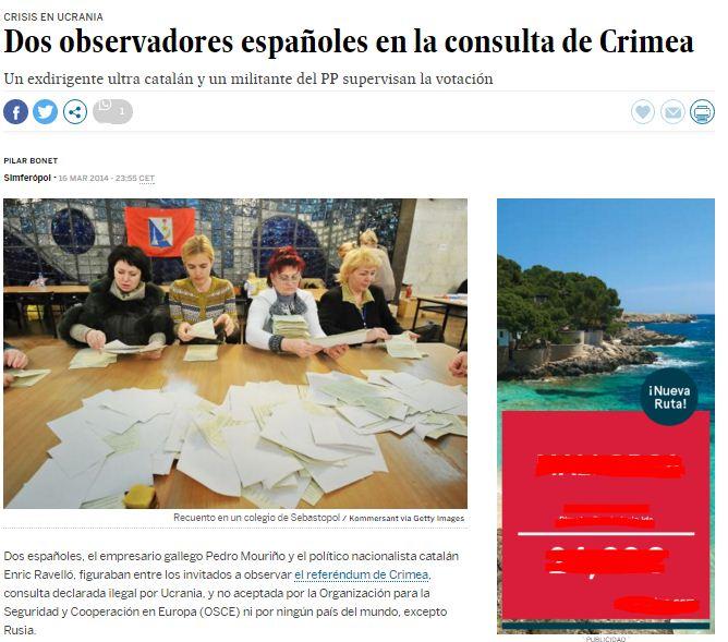 Captura de pantalla de la nota de El País