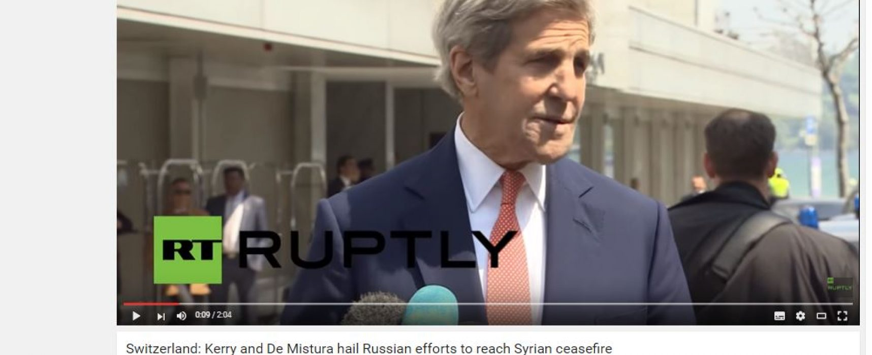 Fake: Kerry Praises Russian Efforts to Reach Ceasefire in Syria