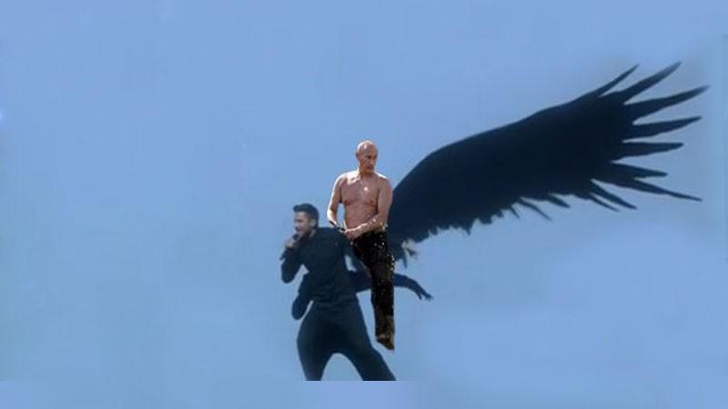 """Imagen difundida ampliamente en línea que presenta al meme """"Putin se pasea"""" mezclado con la actuación de Sergey Lazarev."""