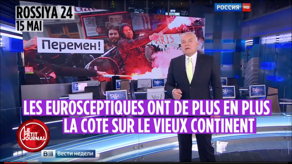 Французские журналисты перевели на родной язык сюжет «о евроскептиках» из программы Дмитрия Киселева. youtube/LePetitJournal