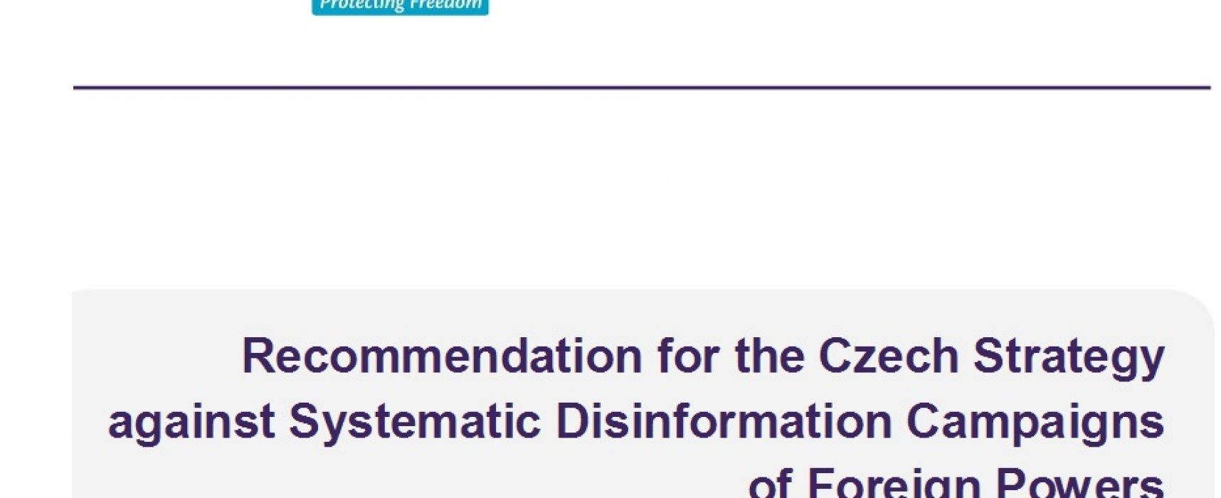 Recommendation for the Czech Strategy against Systematic Disinformation Campaigns of Foreign Powers