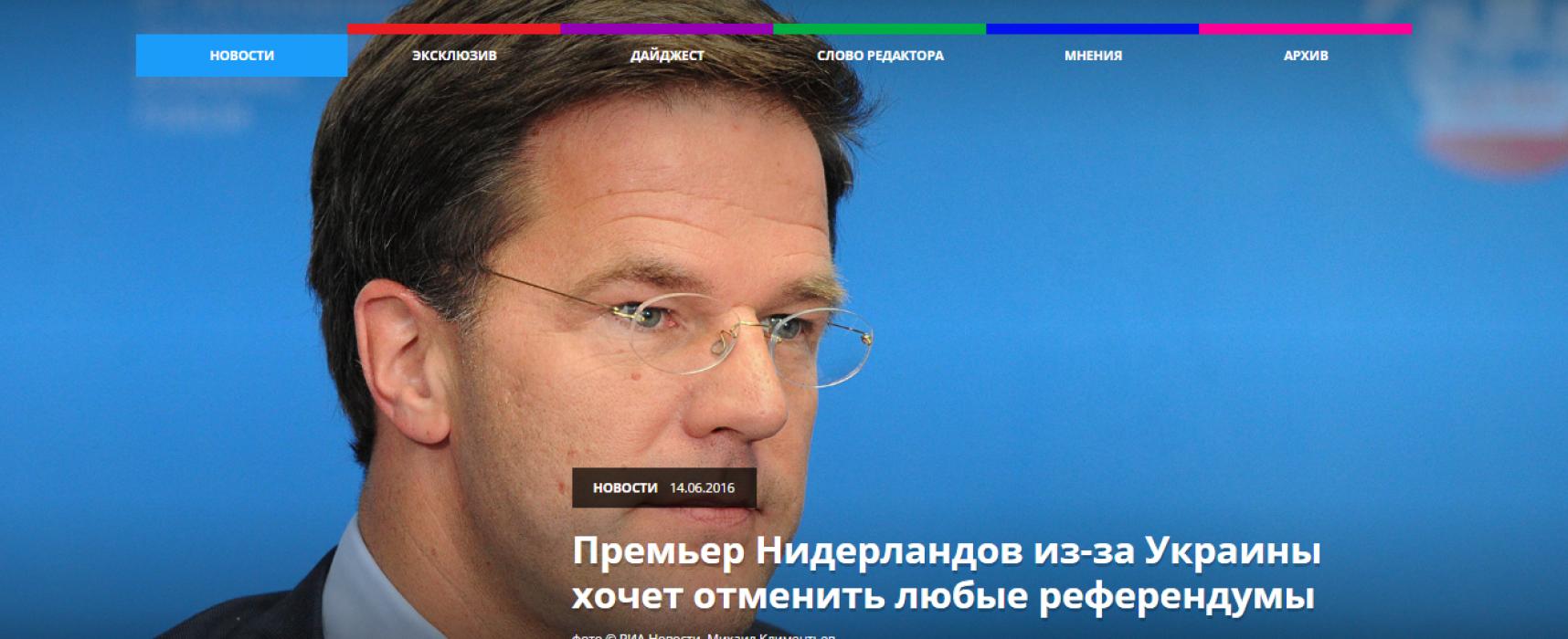 Fake: Mark Rutte wil alle referenda verbieden vanwege het Oekraïne-referendum