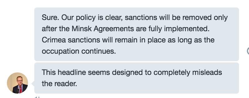 Скриншот на отговора на представителя на посолството на САЩ в РФ в Twitter